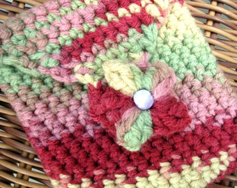 Pretty Crocheted Multipurpose Cell Phone, IPod, or Camera Pouch
