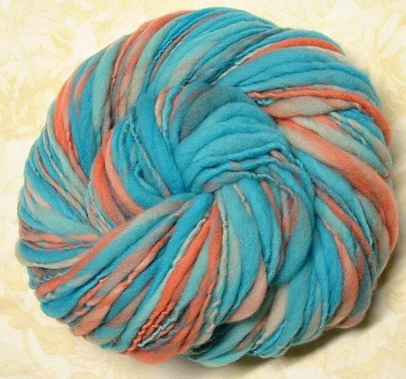 Turquoise and Coral Handspun Yarn Thick Thin Merino Wool