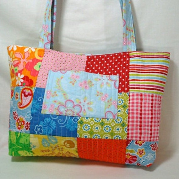 50% OFF SALE - Day at the Beach Patchwork Quilted Purse/Tote Bag