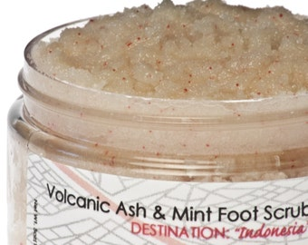 Indonesian Volcanic Ash and Mint Stimulating Foot Scrub with Pumice Stone and Jojoba beads 5oz