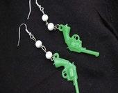 Smokin Green Gun Earrings