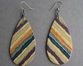 Large Striped Teardrop Wood Earrings