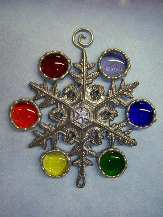 Rainbow Snowflake Glass Nuggets for Christmas Holiday colorful suncatcher
