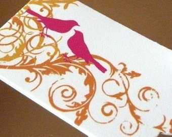 10 25 50 Small Scalloped Rectangle Gift Tags - Birds / Floral Swirl - Pink / Orange - EXCLUSIVE Design