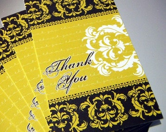 SALE - 100 THANK YOU Tags/Notecards - Damask - Chocolate Brown/Golden Yellow - Exclusive Design