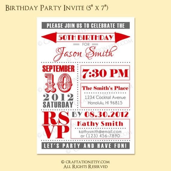 Custom Retro Birthday Anniversary Party Invitation Invite Digital Design - Old Fashioned / Flags - 30th, 40th, 50th, 60th - Printable