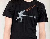 Men's Ninja Pictogram Black with Light Gray and Orange T Shirt