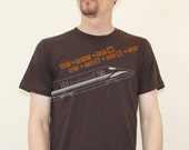 Men's SHINKANSEN Bullet Train Brown Pictogram T Shirt