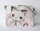 Kimono Kitty  Canvas Messenger Bag White