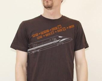 Men's SHINKANSEN Bullet Train Brown Pictogram T Shirt