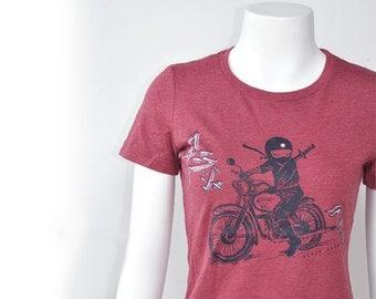 Japanese inspired kawaii,edgy but girly. Red heather  Ninja Rider woman Tee