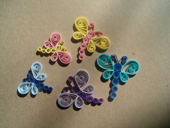 Paper Quilled Dragonfly Embellishments