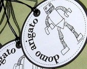 CUSTOM LISTING - 60 Customized Domo Arigato Roboboy 2 inch Wedding Circle Tags- reserved for heatheroriet