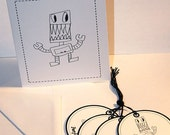 PARTY BOT- Blank All Occassion Greeting Notecard and 4 matching GIft Tags