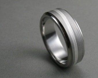 Men's Wedding Band Titanium Silver Swirl Comfort Fit