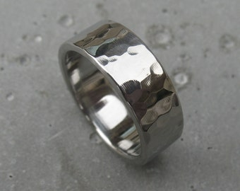 Mirrored Hammered Stainless Steel Ring Comfort Fit