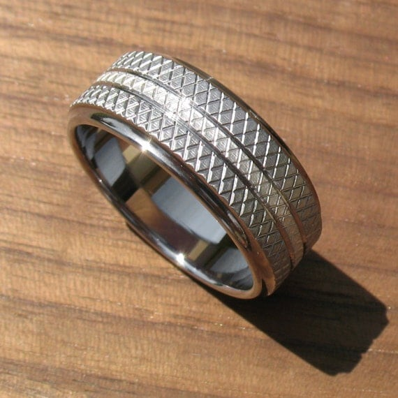 Stainless Steel and Silver Knurled Wedding Ring