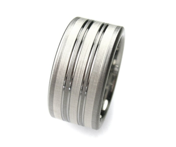 Men's Wedding Band Titanium Silver Stripes Comfort Fit
