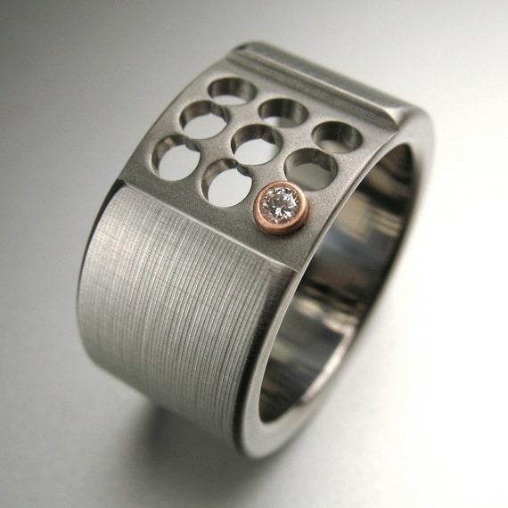 Titanium Rose Gold Diamond Ring
