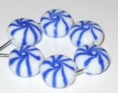 Blue Christmas Mints by Shot Of Glass Lampwork Beads