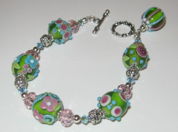 Lime Green Pink Aqua Blue Bracelet by Shot Of Glass Lampwork Beads