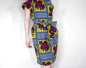 African Wax Print Cutout Dress sz. MEDIUM