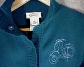 Vintage Talbots Scooter Embroidered Cardigan size MEDIUM