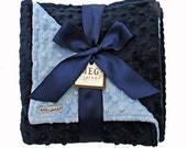 Navy Blue and Baby Blue Minky Dot Baby Boy Blanket