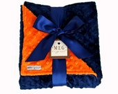 Navy Blue & Orange Minky Dot Baby Blanket, 380