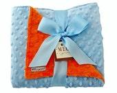 Blue and Orange Baby Boy Minky Dot Chenille Blanket