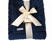 Classy Navy Blue Minky Dot Baby Boy Blanket, 335