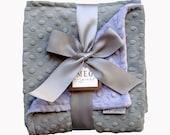 Lavender & Silver Gray Minky Dot Baby Girl Blanket 368
