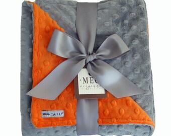 Orange and Gray Minky Dot Baby Blanket 364