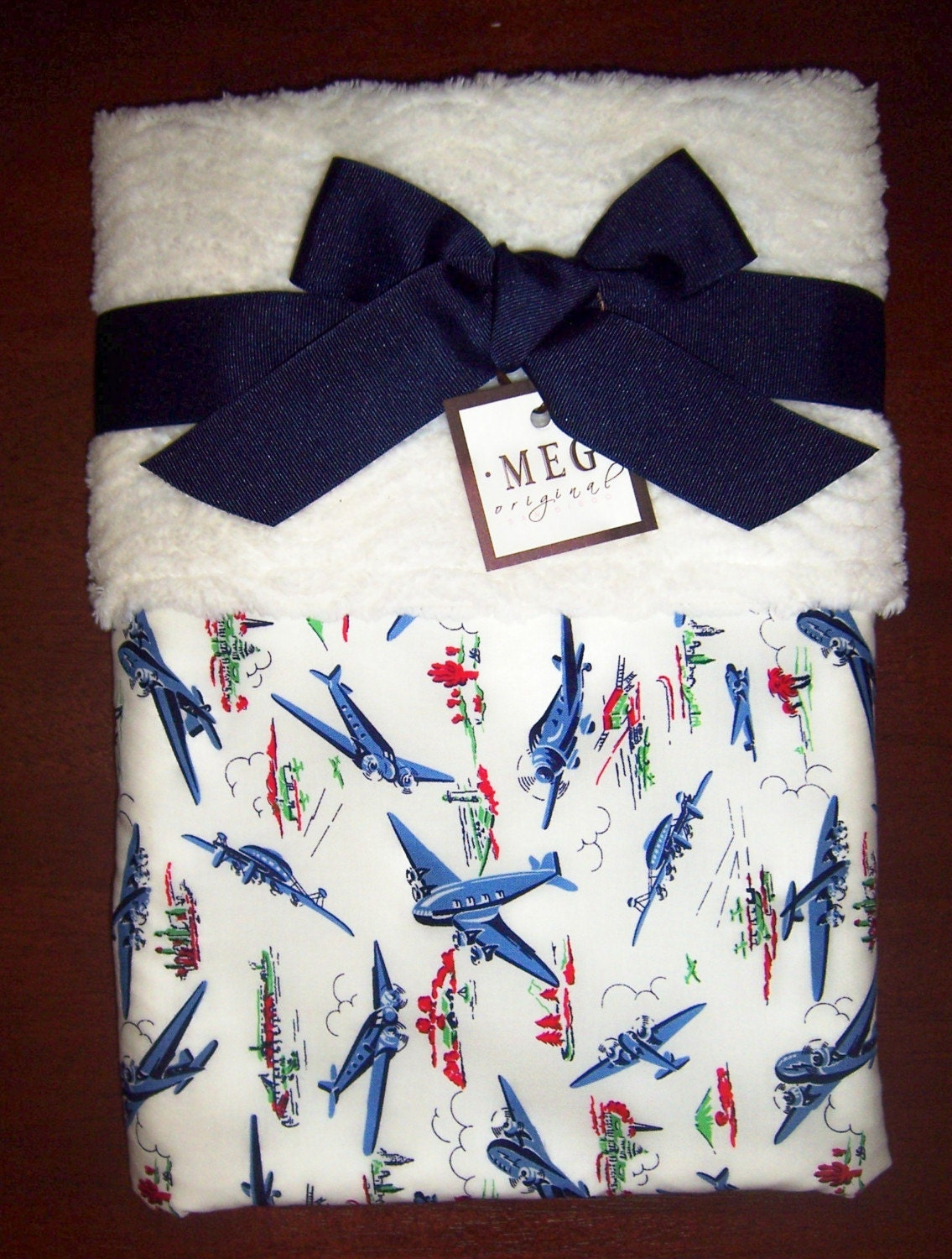 Vintage Airplane Chenille Baby Blanket By Meg Original