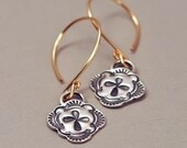Golden Drop Earrings with Dainty Sterling Silver Rustic Medallion Earrings