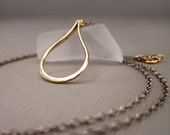 Serene - Graceful Elongated Teardrop Necklace in Gold with Oxidized Sterling Silver Chain