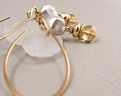 Dainty Decadence - Long Scroll Earrings with Dove Grey Baroque Pearl and Adorned Golden Citrine Drops