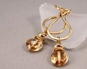 Gold Rush - Graceful Golden Handforged Teardrops with Embellished Champagne Quartz Gemstone Drops
