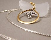 Handforged Golden Teardrop with Sterling Silver Floral Accent and Dual Sterling SIlver Chain