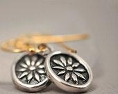Sunshine Flower - Simple Sterling Silver Sunflower Drops on Golden Hooks
