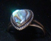 Vintage Sterling Silver Abalone Shell Heart Ring Size 6