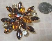 AWSOME Vintage Rhinestone Amber Snowflake Brooch Pin