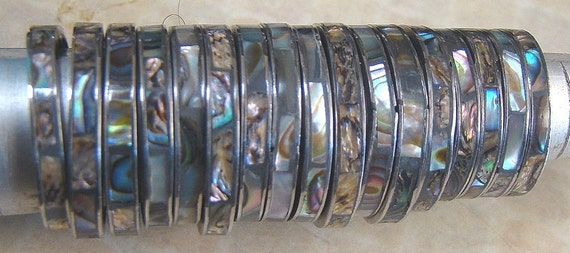 10 Vintage Stainless Steel Abalone Shell Inlay Rings
