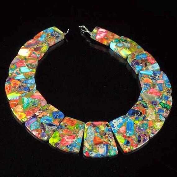 Rainbow Sea Sediment Jasper with Chalcopyrite 15  Piece Pendant Set
