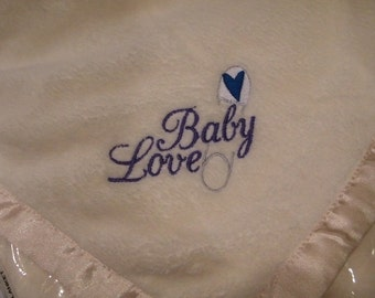 Embroidered BABY Blanket Safety Pin LOVE - Light Pale Yellow Blankie Ready to Ship