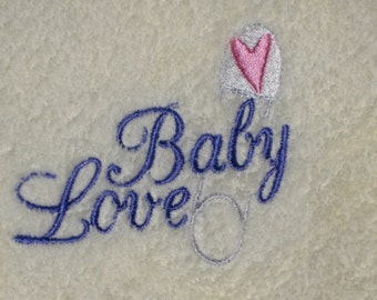 Embroidered Baby Blanket Baby Love PALE YELLOW Blanket with Heart Safety Pin