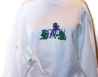 OOAK Adult Medium Cute Dragons Embroidered on Crew Neck Sweatshirt Ready to Ship