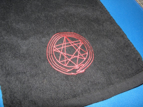Free U.S. Shipping Ouroboros Hand Towel BLACK Embroidery Snake eats tail