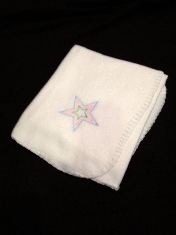 CLEARANCE Sale Stars Blanket Embroidery Lightweight Embossed Fleece
