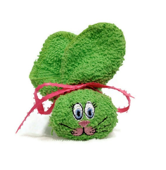 Washcloth Bunnies: Embroidered Boo-boo Bunny Bright Lime Green Rabbit